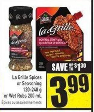 La Grille Spices or Seasoning 120-248 g or Wet Rubs 200 mL