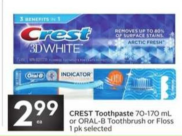Crest Toothpaste 70-170 mL or Oral-b Toothbrush or Floss