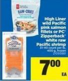 High Liner Wild Pacific Pink Salmon Fillets Or PC Zipperback White Raw Pacific Shrimp - 31-40 Count Per Lb - 400 g