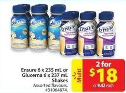Ensure 6 X 235 mL or Glucerna 6 X 237 Mlshakes