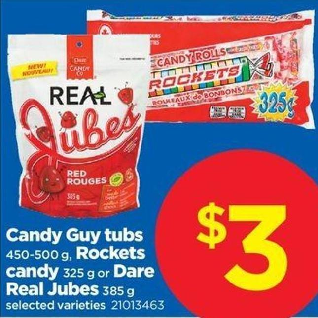 Candy Guy Tubs - 450-500 G - Rockets Candy - 325 G Or Dare Real Jubes - 385 G