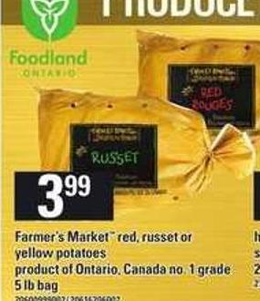 Farmer's Market Red - Russet Or Yellow Potatoes - 5 Lb Bag