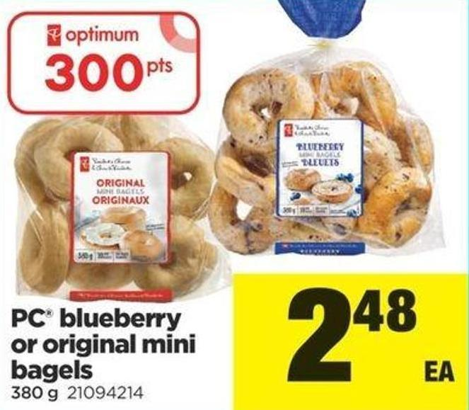 PC Blueberry Or Original Mini Bagels - 380 G