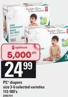 PC Diapers Size 3-6 - 112-180's