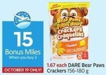 Dare Bear Paws Crackers 156-180 g 15 Air Miles Bonus Miles