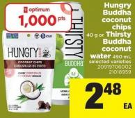 Hungry Buddha Coconut Chips 40 g Or Thirsty Buddha Coconut Water - 490 mL