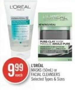 L'oréal Masks (50ml) or Facial Cleansers