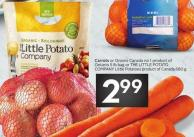Carrots or Onions Canada No 1 Product of Ontario 5 Lb Bag or The Little Potato Company Little Potatoes Product of Canada 680 g