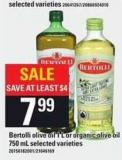 Bertolli Olive Oil - 1 L Or Organic Olive Oil - 750 Ml