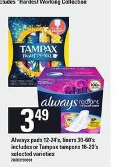 Always Pads - 12-24's - Liners - 30-60's Includes Or Tampax Tampons - 16-20's