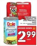 V8 Vegetable Cocktail Or Dole Pineapple Juice