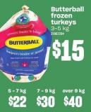 Butterball Frozen Turkeys 7-9 Kg
