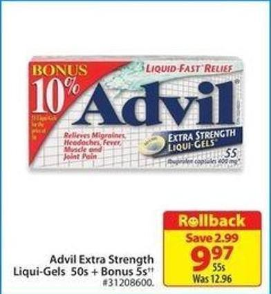 Advil Extra Strength Liqui-gels 50s + Bonus 5s
