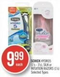 Schick Hydro5 (1's - 3's) - Silk or Intuition Razors (1's)