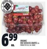 Organic Red Seedless Grapes 2 Lb