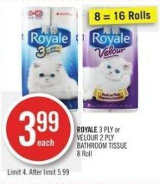 Royale 3 Ply or Velour 2 Ply Bathroom Tissue (8 Roll)