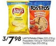 Lay's Potato Chips 220-235 g - Poppables 130 g or Tostitos Tortilla Chips 210-295 g