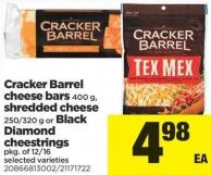 Cracker Barrel Cheese Bars 400 G - Shredded Cheese 250/320 G Or Black Diamond Cheestrings Pkg Of 12/16