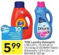 Tide Laundry Detergent 1.36-1.47 L - 15-20 Pk or 1.5-1.6 Kg or Downy Fabric Enhancers 1.23-1.53 L or Bounce 120 Pk - 10 Air Miles Bonus Miles