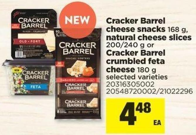 Cracker Barrel Cheese Snacks - 168 G - Natural Cheese Slices - 200/240 G Or Cracker Barrel Crumbled Feta Cheese - 180 G