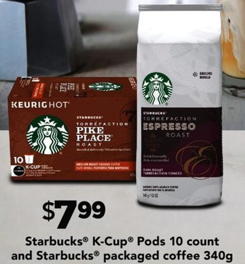 Starbucks K-cup PODS 10 Count And Starbucks Packaged Coffee 340g