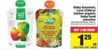 Baby Gourmet - Love Child Or Gerber Organic Baby Food Pouches - 128 Ml