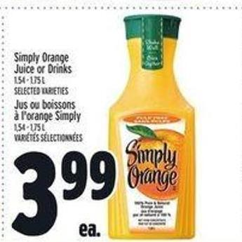 Simply Orange Juice or Drinks