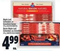 Maple Leaf Schneiders Or Greenfield Bacon 375 g
