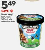 Ben & Jerry's Ice Cream 500ml Tub