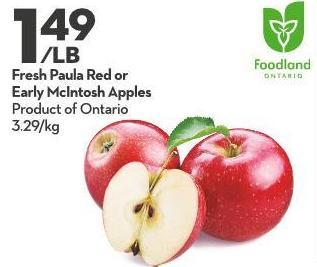 Fresh Paula Red or  Early Mcintosh Apples