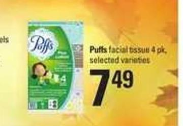 Puffs Facial Tissue - 4 Pk
