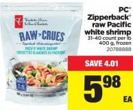 PC Zipperback Raw Pacific White Shrimp - 31-40 Count Per Lb 400 g
