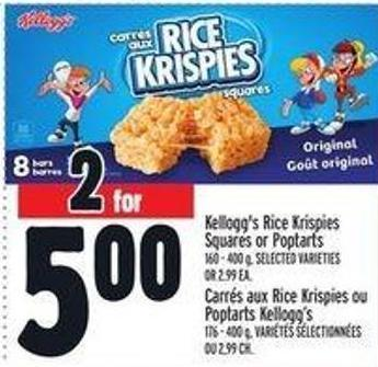 Kellogg's Rice Krispies Squares Or Poptarts