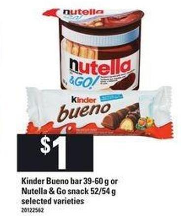 Kinder Bueno Bar - 39-60 g or Nutella & Go Snack - 52/54 g