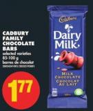 Cadbury Family Chocolate Bars.85-100 g