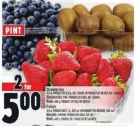 Strawberries 454 g - Product Of U.S.A. - No. 1 Grade Or Product Of Mexico - No. 1 Grade Blueberries Pint - Product Of Chile - No. 1 Grade Kiwis 600 g - Product Of Italy Or Greece