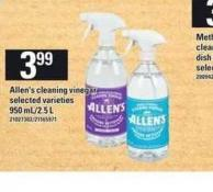 Allen's Cleaning Vinegar - 950 Ml/ 2.5 L