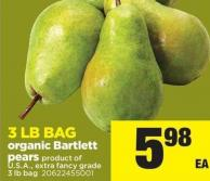 Organic Bartlett Pears - 3 Lb Bag