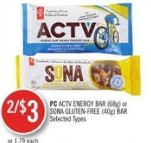 PC Actv Energy Bar (68g) or Sona Gluten-free (40g) Bar