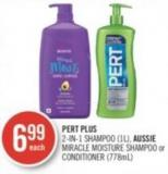 Pert Plus 2-in-1 Shampoo (1l) - Aussie Miracle Moisture Shampoo or Conditioner (778ml)