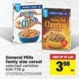 General Mills Famiy Size Cereal - 526-778 g