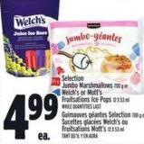 Selection Jumbo Marshmallows 700 G Or Welch's Or Mott's Fruitsations Ice Pops 12 X 53 ml