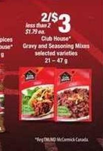 Club House Gravy And Seasoning Mixes - 21 – 47 g