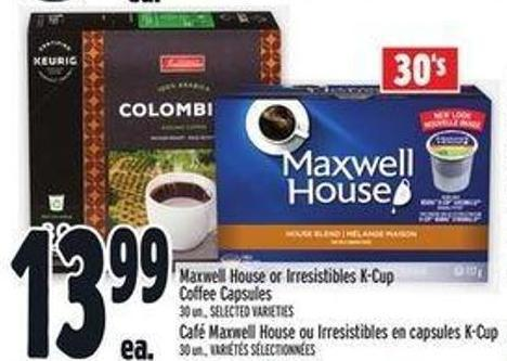 Maxwell House or Irresistibles K-cup Coffee Capsules