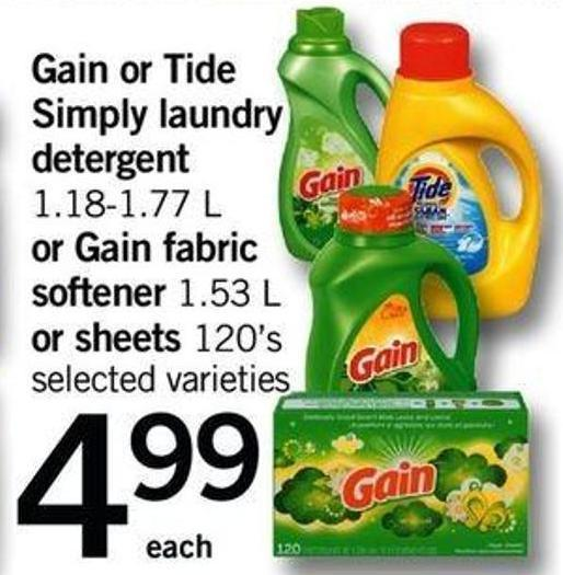 Gain Or Tide Simply Laundry Detergent - 1.18-1.77 L Or Gain Fabric Softener - 1.53 L Or Sheets - 120's
