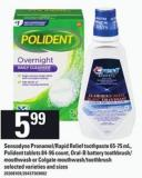 Sensodyne Pronamel/rapid Relief Toothpaste - 65-75 Ml - Polident Tablets - 84-96 Count - Oral-b Battery Toothbrush/ Mouthwash Or Colgate Mouthwash/toothbrush