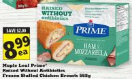 Maple Leaf Prime Raised Without Antibiotics Frozen Stuffed Chicken Breasts 568g