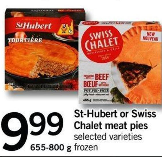 St-hubert Or Swiss Chalet Meat Pies - 655-800 G