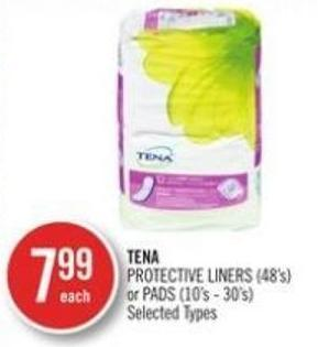 Tena Protective Liners (48's) or Pads (10's - 30's)
