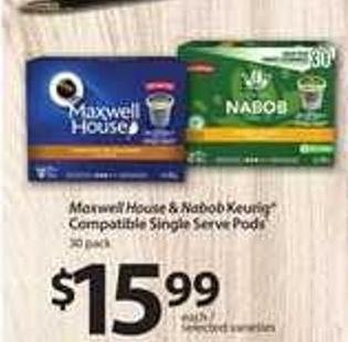 Maxwell House & Nabob Keurig Compatible Single Serve PODS - 30 Pack